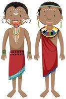 etnische mensen van Afrikaanse stammen in stripfiguur in traditionele kleding vector