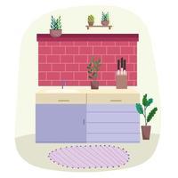 keuken interieur met bakstenen muur vector