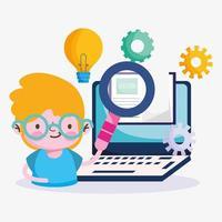 jongen met computer en educatieve pictogrammen