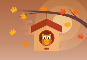 Owl In Tree House vector