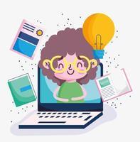jongen op een laptopscherm met onderwijspictogrammen