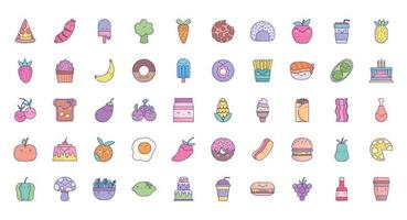 schattige cartoon voedsel pictogramserie