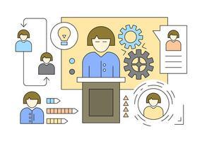 Illustratie over werknemersorganisatie in Vector