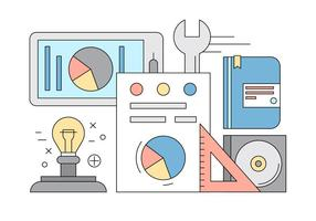Gratis Office Icons in Thin Line Style vector