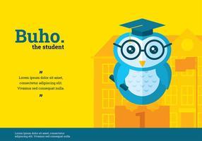 Buho Student Karakter Vector
