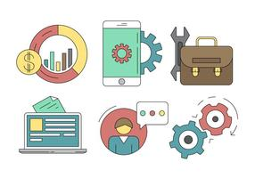 Business and service Icons Set vector