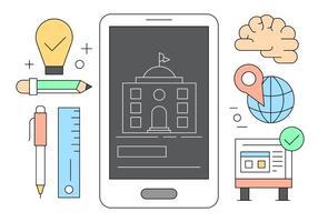 Online Onderwijs en Leren Iconen in Vector
