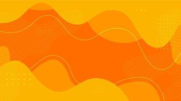 abstracte vlakke dynamische oranje en gele vloeiende vormenachtergrond vector