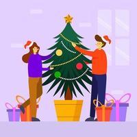 paar vieren kerstfeest