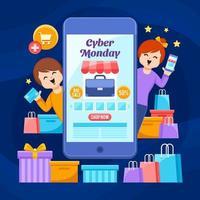 vrolijke klanten winkelen op cyber maandag grote verkoop vector
