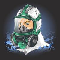 personage in pak met masker om te beschermen tegen coronavirus