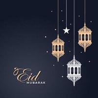 eid mubarak-wenskaart met hangende lantaarns vector