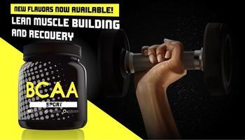 bcaa container advertentie met hand met halter