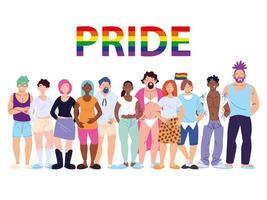 groep mensen met lgbtq gay pride-symbool vector
