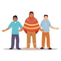 multi-etnische groep mensen die samen staan