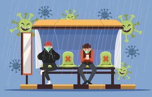 nieuw normaal protocol in een bushalte