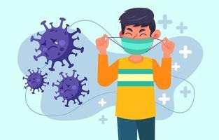 vermijd virussen door een masker te gebruiken om ons te beschermen vector
