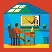 leuke online les met een professor thuis vector