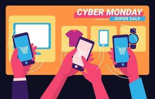 cyber maandag winkelen van gadget vector