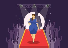 Plus Size Vrouw Modeling op Catwalk Illustratie vector