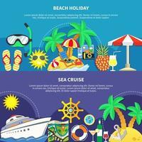 vakantie en reizen sjabloon banner set vector