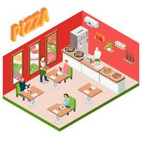 isometrische pizzawinkel interieur