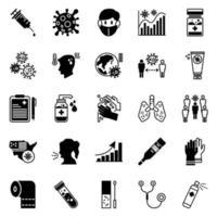 virusbeschermingslijn en glyph-pictogrammen