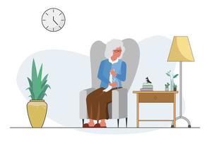 bejaarde grootmoeder knitty activiteit