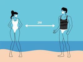 een paar mensen op het strand houden sociale afstand vector