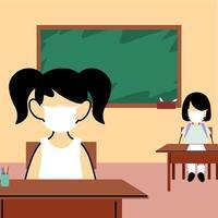 kinderen studenten dragen gezichtsmasker in de klas vector