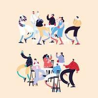 aantal mensen dansen en gezichtsmaskers gebruiken