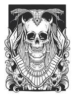 schedel en slang lijntekeningen vector