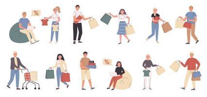 shoppers, mannelijke en vrouwelijke klanten platte tekenset