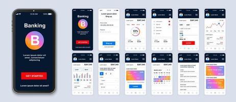 kleurrijke gradiënt mobiel bankieren ui app smartphone-interface vector