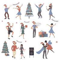 mensen vieren kerst stripfiguren instellen