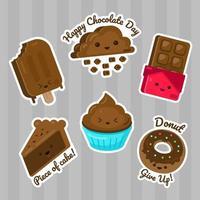 schattige stickerset chocolaatjes vector