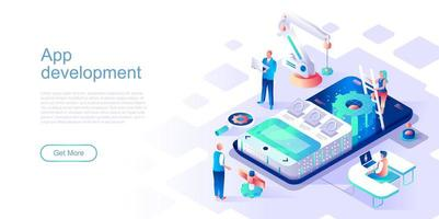 bestemmingspagina-sjabloon voor app-ontwikkeling vector
