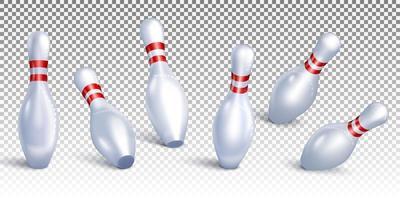 bowling pinnen vallen vanuit verschillende hoeken vector