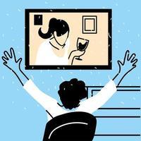 man en vrouw op het scherm in videochat