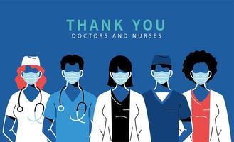 vrouwelijke en mannelijke artsen met maskers en uniformen vector