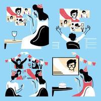 mensen in videochat vieren