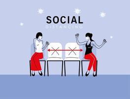 sociaal afstand nemen tussen vrouwen met maskers op stoelen