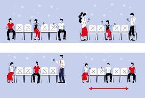 sociaal afstand nemen tussen mensen met maskers op stoelen