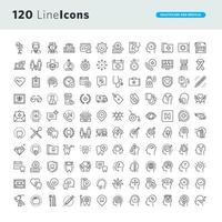 set lijn iconen voor gezondheidszorg en geneeskunde vector