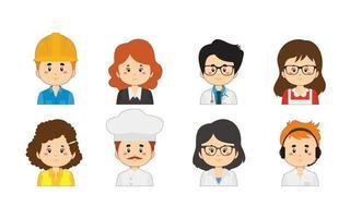 set van verschillende werknemer avatars
