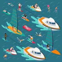 watersport isometrische mensen vector