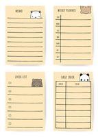 schattige beer cartoon doodle notitie planner set