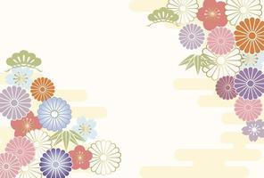 Nieuwjaar wenskaart versierd met Japanse vintage charmes