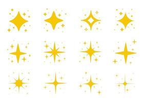 geel licht fonkelende glinsterende sterren vector