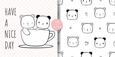 schattige beer cartoon doodle kaart en patroon vector